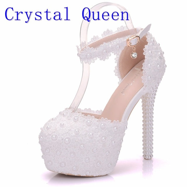 bf2d2b0950 ... White Lace Flower Bridal Shoes High Heel Round Toe Wedding Pumps Ankle  Straps Sandals Bridesmaid Shoes ...
