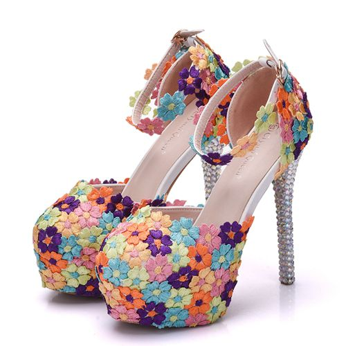 ... White Lace Flower Bridal Shoes High Heel Round Toe Wedding Pumps Ankle  Straps Sandals Bridesmaid Shoes ... 147ed299d649