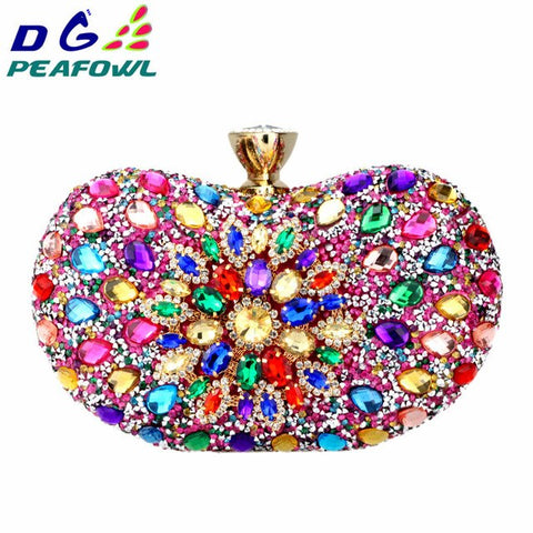 Two Side Luxury Crystal Floral Clutch Chain Bag Evening Women Diamond Wedding Shoulder Purse Handbags