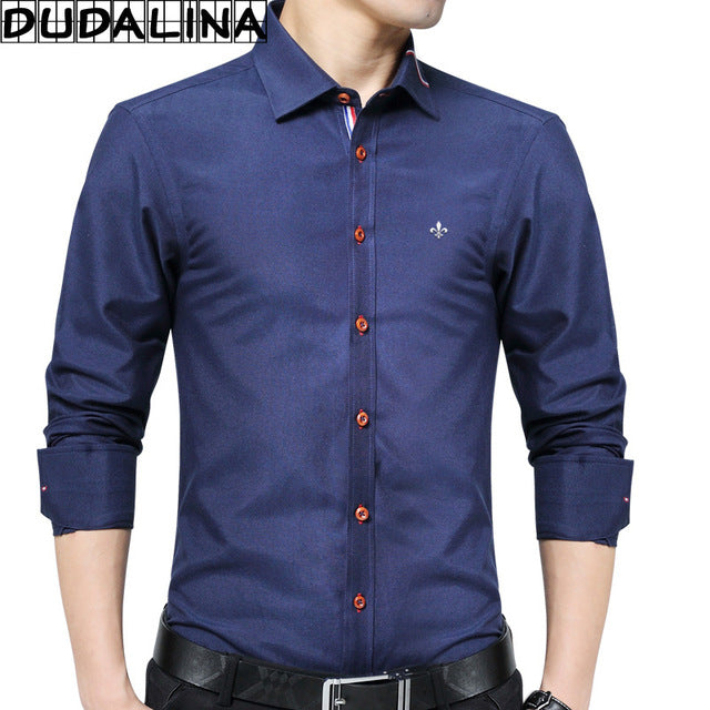 Oxford Shirt Men Long Sleeve Shirt Clothes Slim Fit Casual Men Social Shirt