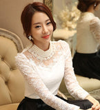 Elegant Long Sleeve Bodysuit Beaded Women Lace Blouse Shirts Crochet Tops Blouse Mesh Chiffon