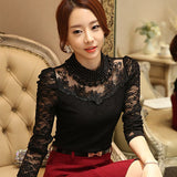 Long Sleeve Bodysuit Beaded Women Lace Blouse Shirts Crochet Tops Mesh Chiffon Blouse