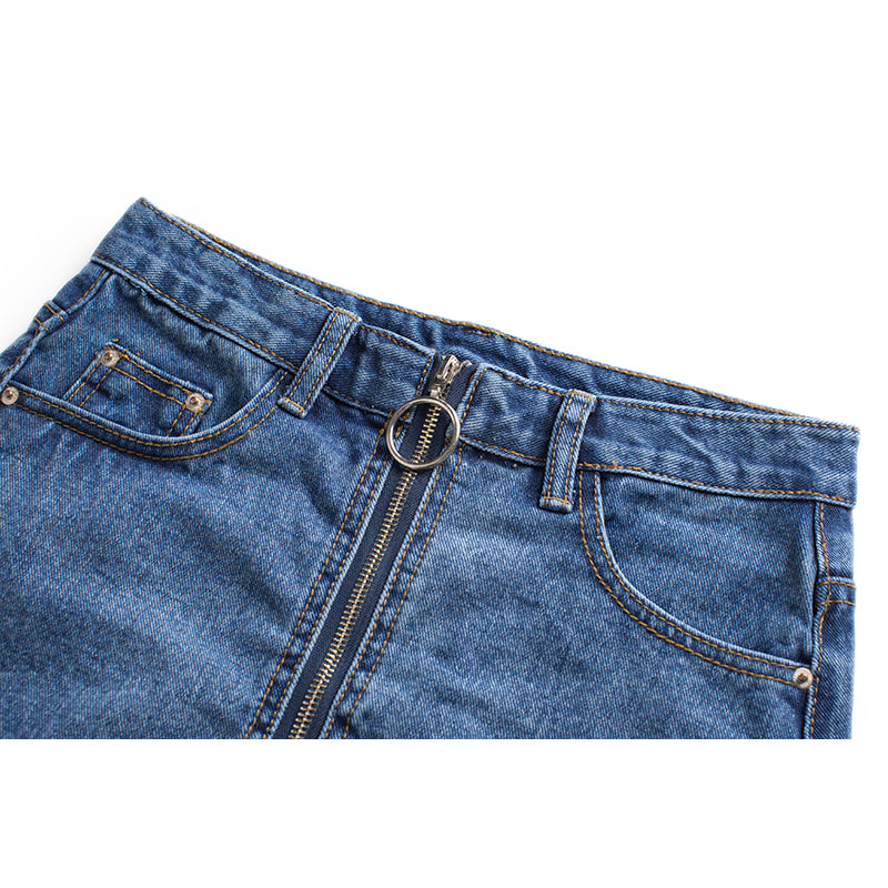 Summer Spring High Waist Denim Skirt Women Casual Zipper A-line Mini Skirts Pocket All-matched Jeans Skirt