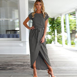 Boho Split Long Dress Women O-Neck Maxi Dress Summer Short Sleeve Solid Dress With Belt Vestidos