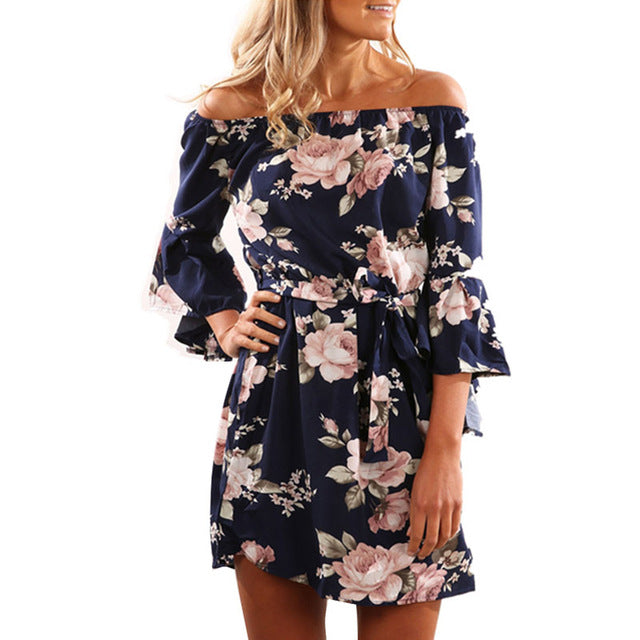ad27a0b772 ... Off Shoulder Slash Neck Office Dress Summer Floral Print Beach Casual  Flare Sleeve Women Dress ...