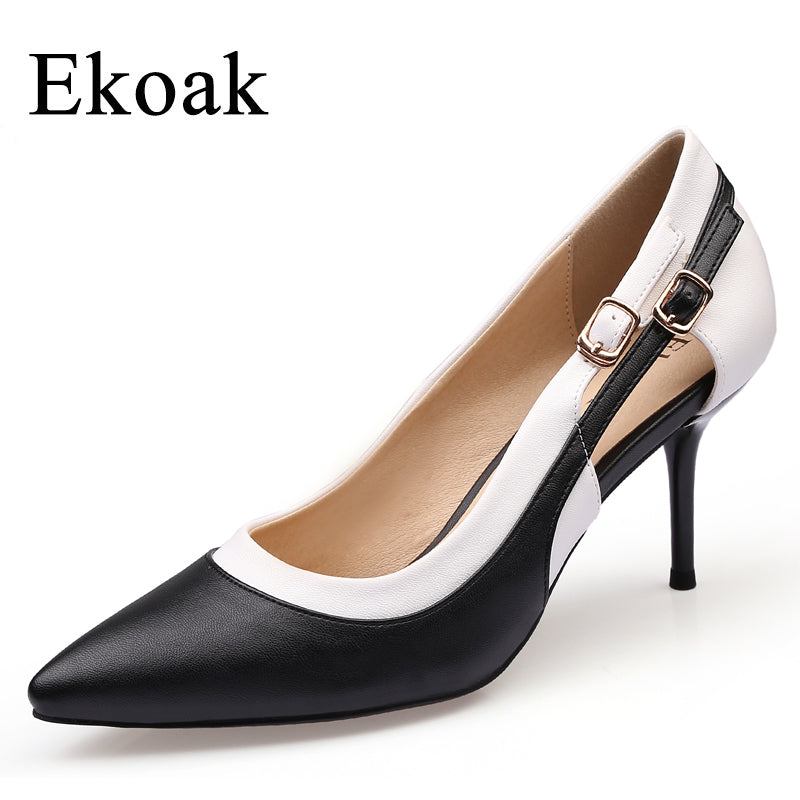 Classics Genuine Leather Shoes Women Thin High Heels Shoes Sheepskin Party Shoes
