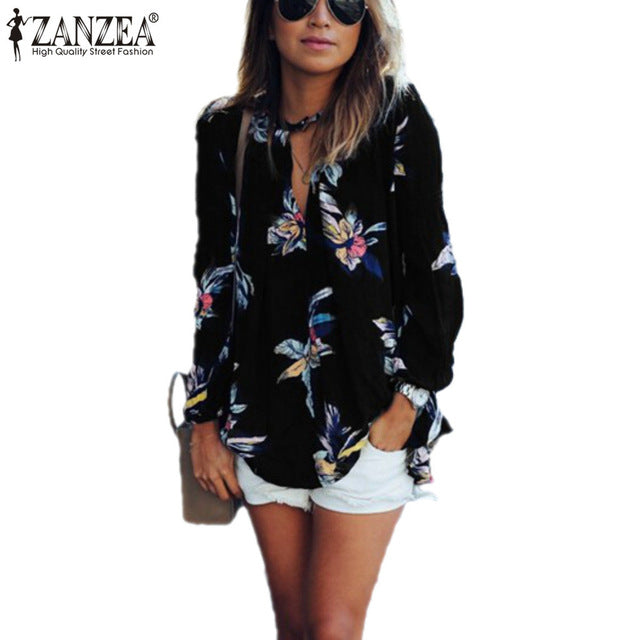 fd16b0a49d1 ... Floral Printed Chiffon Women Blouse Casual Loose V Neck Long Sleeve  Black Tops Shirts Plus Size ...