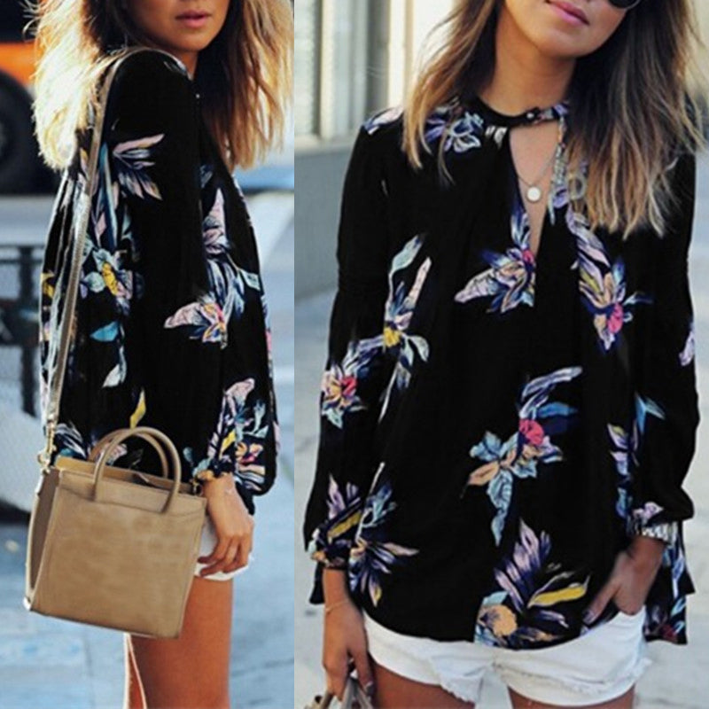 254c851785993 ... Floral Printed Chiffon Women Blouse Casual Loose V Neck Long Sleeve  Black Tops Shirts Plus Size ...