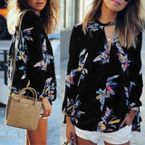Floral Printed Chiffon Women Blouse Casual Loose V Neck Long Sleeve Black Tops Shirts Plus Size Blouse
