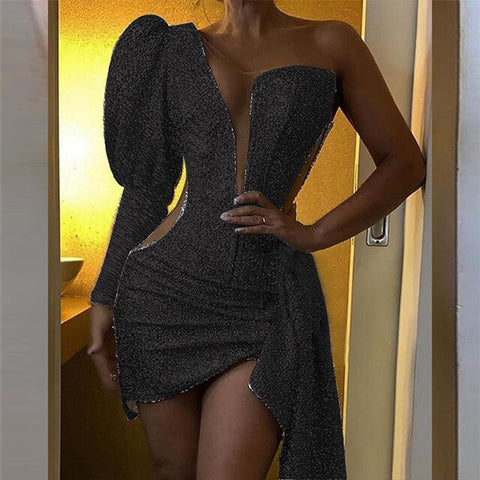 Sequin Glitter Party Dress Spring Summer Puff Sleeve Split Bodycon Dress Women One Shoulder Slim Mini Dresses