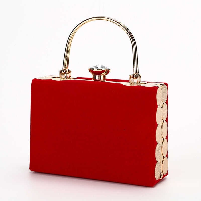 Hard-Surface Women Evening Bags Rectangle Box Bag Handbags Black Red Party Clutches