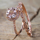 Wedding Ring Set Women Cubic Zirconia Vintage Bridal Engagement Rose Gold Finger Jewelry