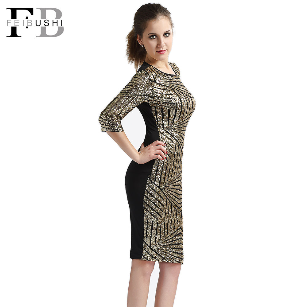 72ee87ca401 ... Golden Sequin Dresses Bodycon Women Geometric Lace Big Size Backless  Half Sleeve Slim Club Dress ...
