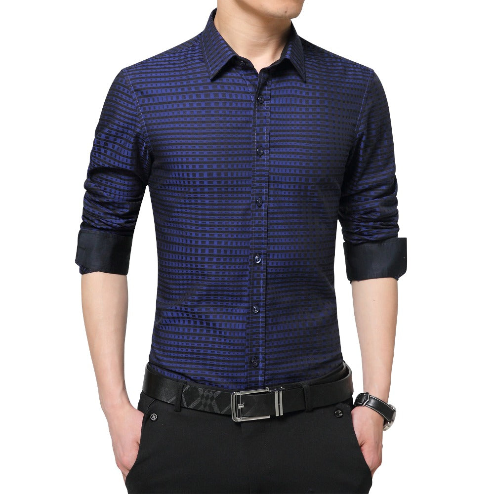 Men Shirts Spring Autumn Luxury Long Sleeve Fit Checkered Plaid Shirts