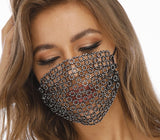Glitter Rhinestone Funny Mask Diamond Crystal Facemask Mesh Net Wedding Nightclub Party Show