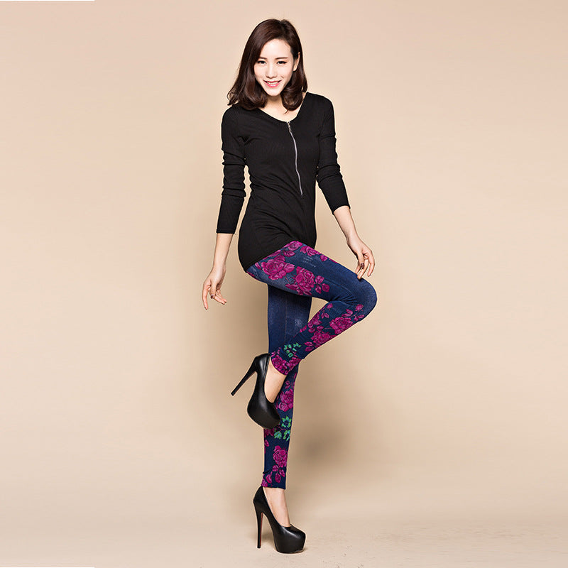 Women Spring Summer Leggings Faux Denim Jeans Long Floral Printing Casual Pencil Thin Pants