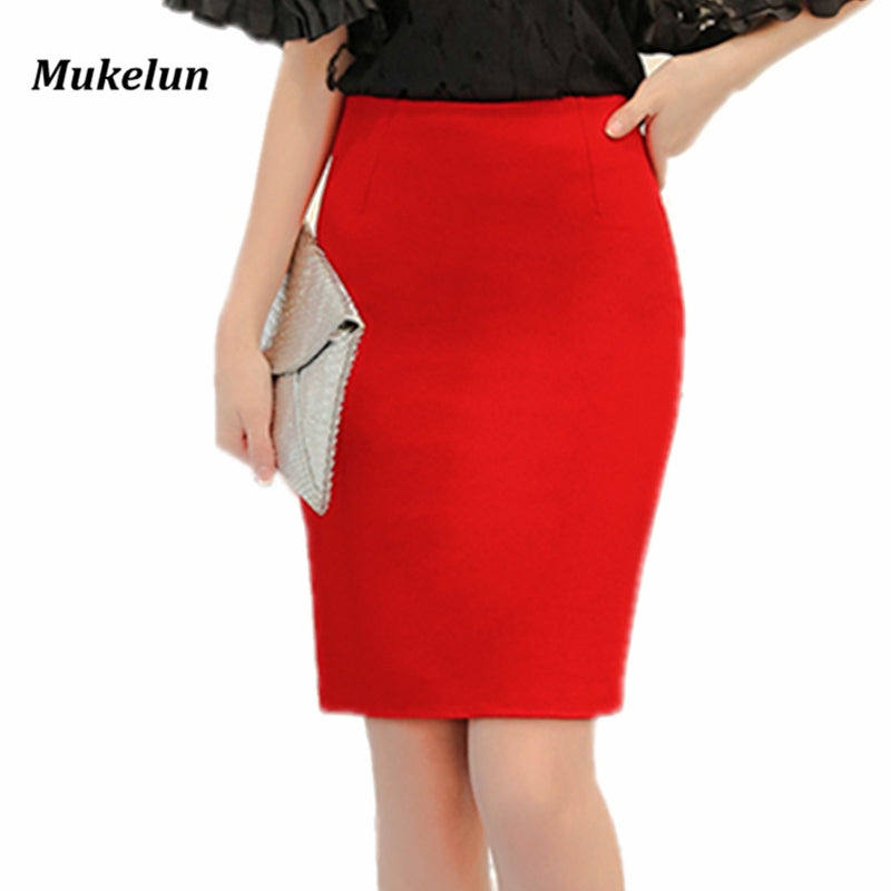 53f3a8d17 ... Women Plus Size High Waist Work Slim Pencil Skirt Red Open Fork Office  Lady Skirts ...