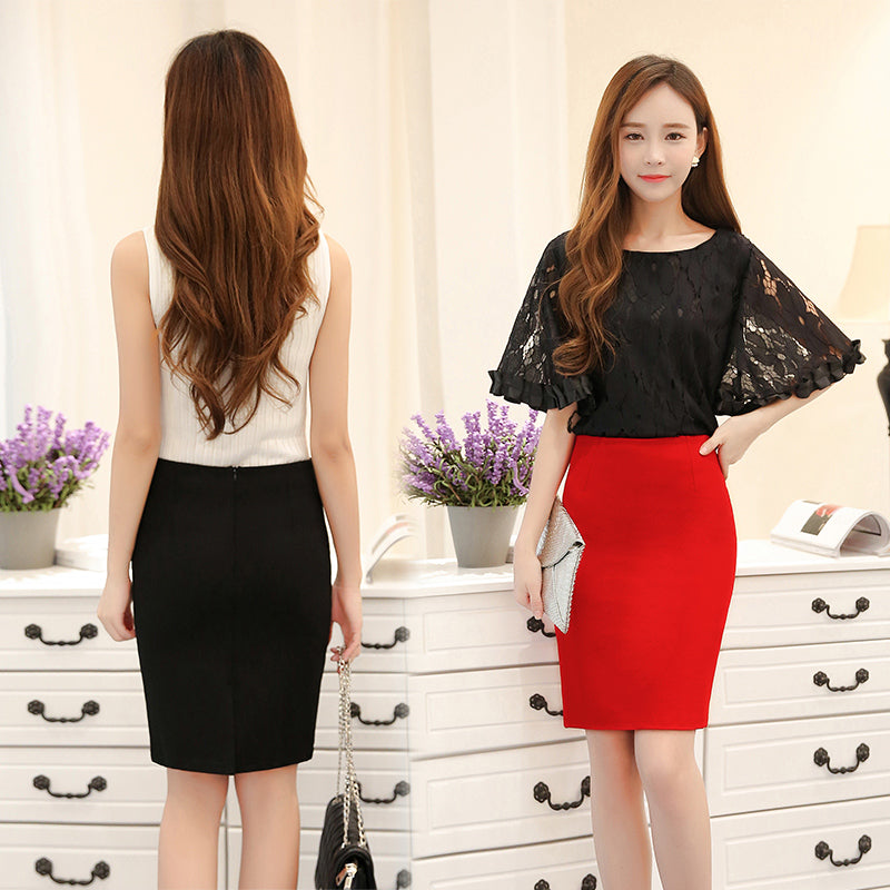 Women Plus Size High Waist Work Slim Pencil Skirt Red Open Fork Office Lady Skirts