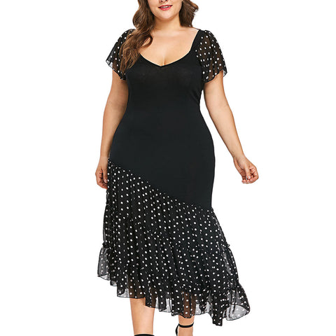 Plus Size Black Floral Sequin Mesh Sleeve Flare Dress Women Summer Autumn Party A Line Dresses