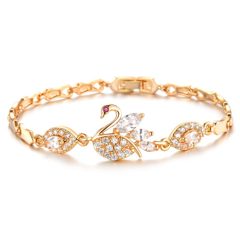 Szelam Heart Charm Bracelets Women Snake Chain Gold Plated Bracelets & Bangles Fashion Jewelry - Jewelry