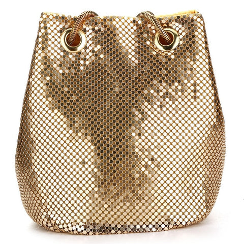 Women Bucket Shoulder Bag Sequin Cross Body Evening Party Sliver Gold Purse Handbags Clutches