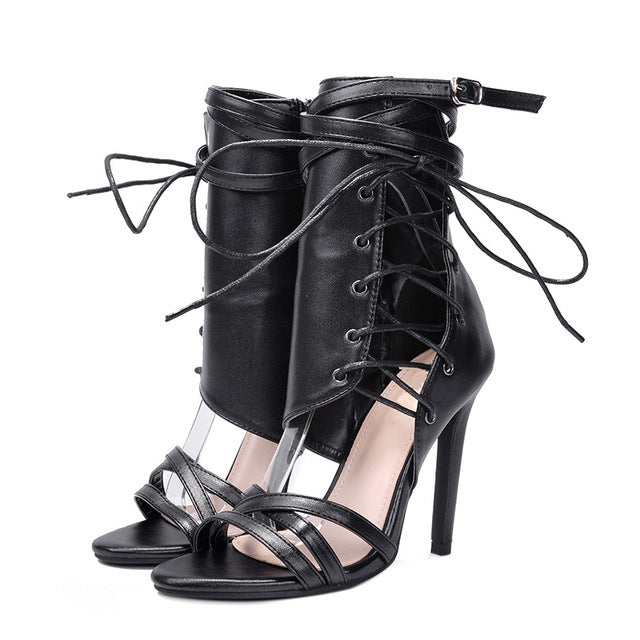 d27fa348c085a ... Women Gladiator Peep Toe Thin Heel Summer High Heels Shoes Casual Lace  Up Ankle Strap Pumps ...