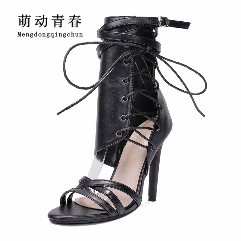 8f7bd8c1b2b1d Women Gladiator Peep Toe Thin Heel Summer High Heels Shoes Casual Lace Up  Ankle Strap Pumps