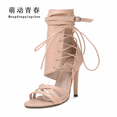 Women Gladiator Peep Toe Thin Heel Summer High Heels Shoes Casual Lace Up Ankle Strap Pumps