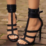Women Pumps Gladiator Peep Toe Shoes Casual Thin Heel Buckle Strap Summer High Heel Pumps
