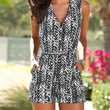 Women Sleeveless V-Neck Jumpsuits Summer Casual Romper Bodysuit Holiday Playsuit Outwear