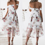 Women Summer Beach Dresses Floral Print Off Shoulder Dress Vestido