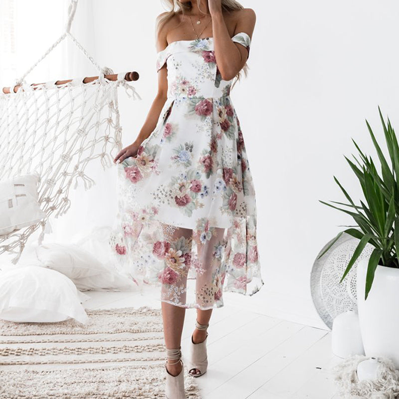 c26cfc446b ... Women Summer Beach Dresses Floral Print Off Shoulder Dress Vestido ...