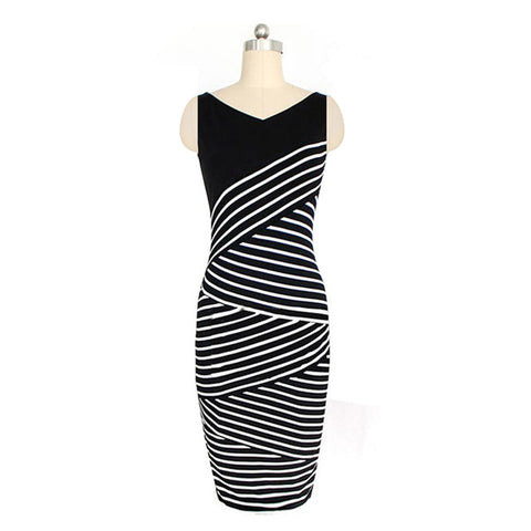 Women Summer Bodycon Stripe Pencil Dress Office Elegant Party Dresses