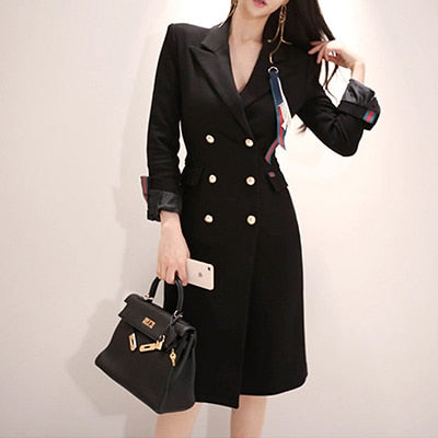 Women Comfortable Temperament Black Dress Vintage Plus Size Thick Warm Party Big Pencil Dresses