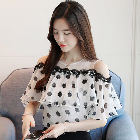 Women Tops Blouses Short Wave Point Chiffon White Blouse Shirt Feminine
