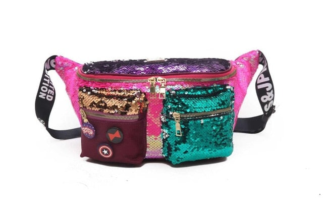 Double Color Sequins Waist Multiple Pockets Hip Bag Large Capacity Banana Women Bags