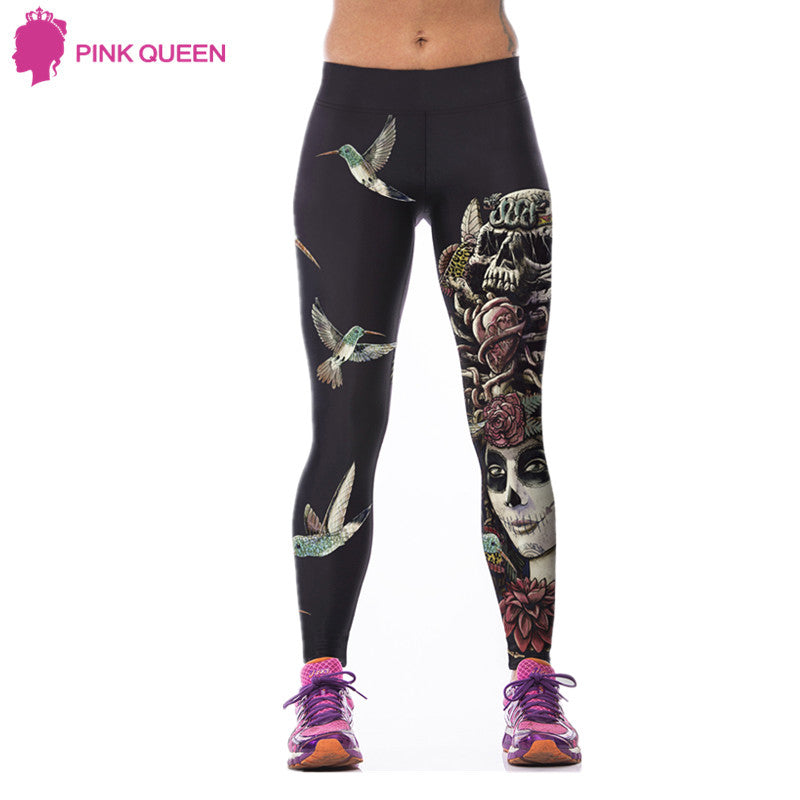 Fitness Leggings Women Cheshire Cat 3D Prints Legging Skull High Waist Workout Pants