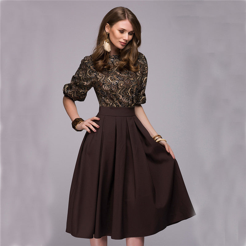 Floral Printed Dress Autumn Spring Casual Prom Long Dresses Fall Party Elegant Vestidos