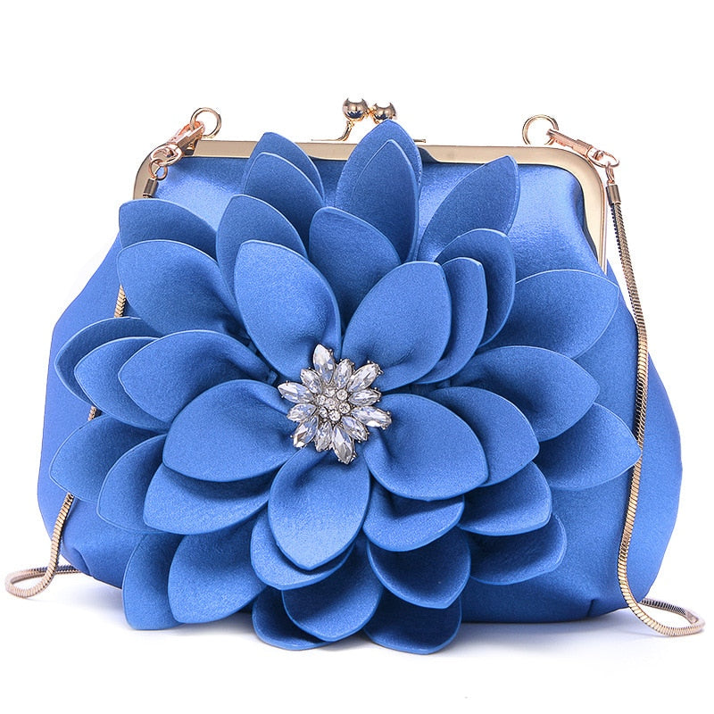 Flower Bag Floral Clutch Bag Women Chain Diamond Shoulder Bags Soft Leather Retro Handbag