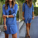 Women Spring Long Sleeve Casual Denim Blouse Tops Shirt with Pockets