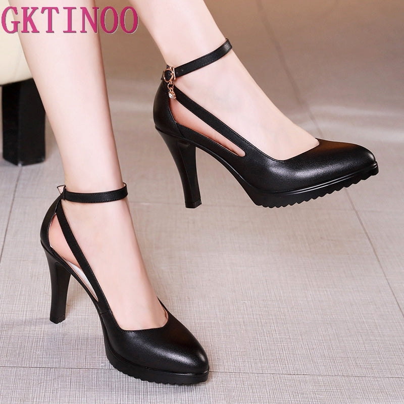 Womens Fashion Genuine Leather Square Heels Pointed Toe High Heels White Evening Evening Pumps