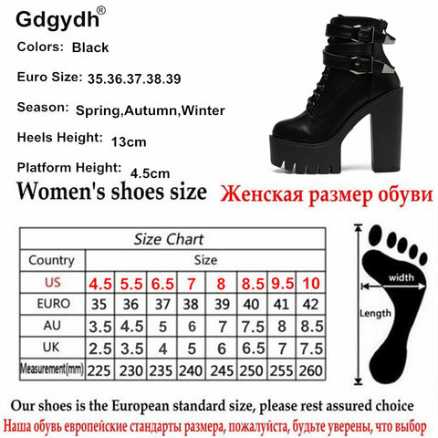 Spring Women Boots High Heels Platform Buckle Lace Up Leather Short Booties Black Shoes
