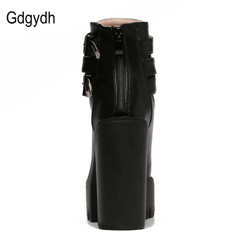 84e945cd3e2 ... Spring Women Boots High Heels Platform Buckle Lace Up Leather Short  Booties Black Shoes ...