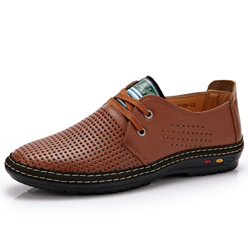 Genuine Leather Men Casual Shoes Summer Breathable Soft Driving Handmade Net Surface Loafers