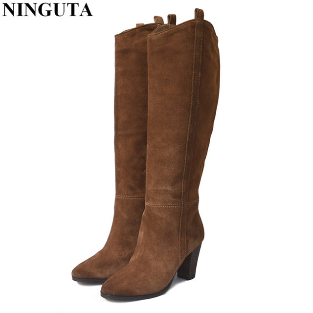 Genuine Leather Suede Boots Women High