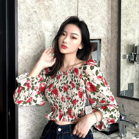 Ruffles Slash Neck Full Flare Sleeve Cropped Blouses Women Flower Print Chiffon Blouse Crop Tops