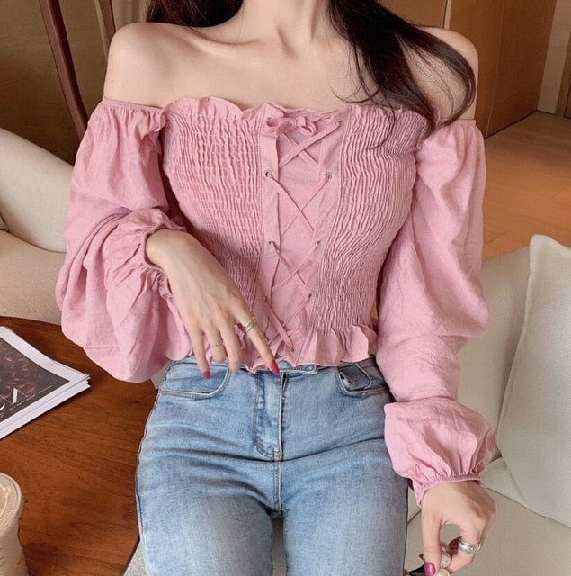 Ruffles Slash Neck Full Lantern Sleeve Cropped Blouses Women Lace Up Ruffle Blouse Crop Tops
