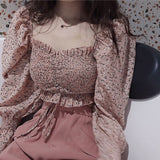 Ruffles Square Collar Full Puff Sleeve Blouses Women Floral Ruffled Chiffon Blouse Crop Tops