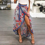 Boho Split Flower Print Skirt Beach Asymmetrical Long Skirt Summer Stripe Party Club Maxi Skirt