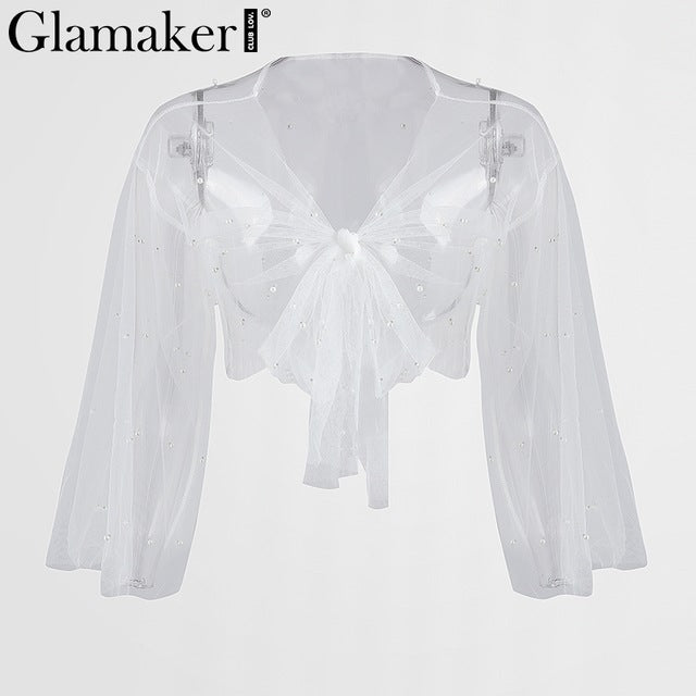 Embroidered Flares Mesh Shirt Women Transparent Crop Top Tees Bow Tie Loose Streetwear Party Blouse Top